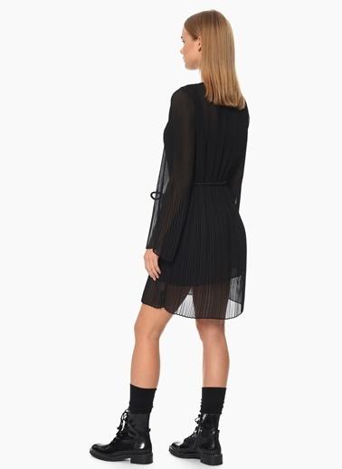 NetWork Pileli Şifon Elbise Siyah